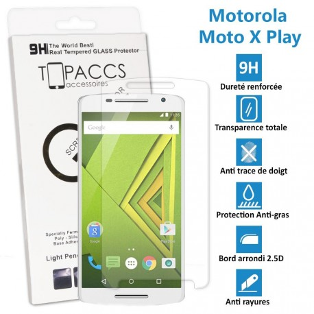 Motorola Moto X Play - Véritable vitre de protection écran en Verre trempé ultra résistante - Protection écran