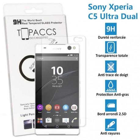 Sony Xperia C5 Ultra Dual - Véritable vitre de protection écran en Verre trempé ultra résistante - Protection écran