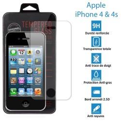 Apple iPhone 4 et 4s - Véritable vitre en verre trempé ultra résistante - Protection écran