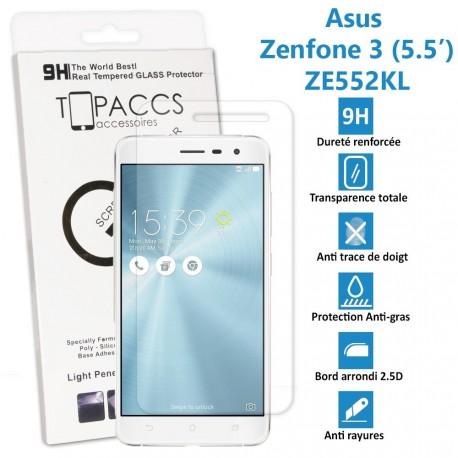 Asus Zenfone 3 (5.5 pouces) : ZE552KL - Véritable vitre de protection écran en Verre trempé ultra résistante - Protection écran