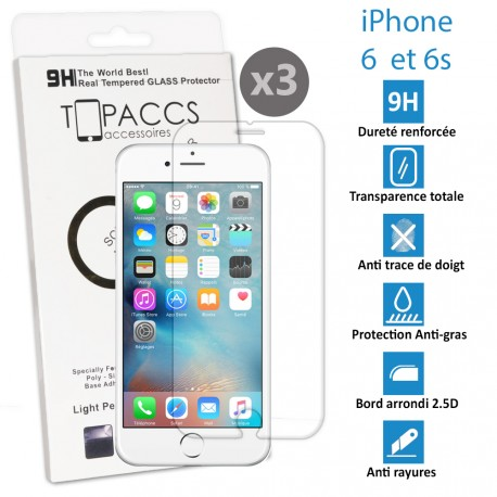 Apple iPhone 6 et 6s -Verre trempé ultra résistante - Protection écran