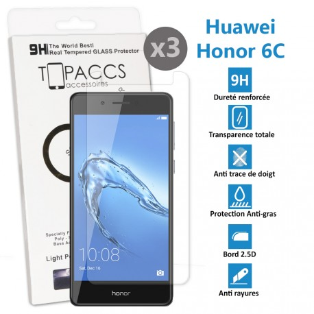 Huawei Honor 6C - Vitre de protection écran en Verre trempé ultra résistante - Protection écran