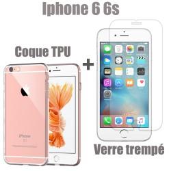 apple iphone 6 et 6s lot coque tpu vitre en verre trempe ultra resistante protection ecran